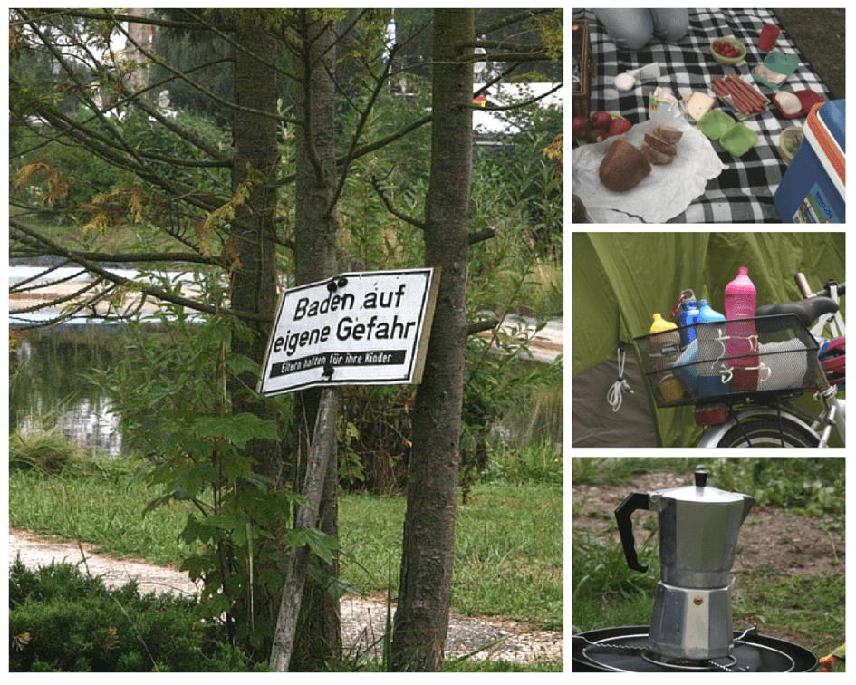 Links: Das campingplatzeigene Schwimmbad ist leider ein Froschtümpel. Aber sehr malerisch anzusehen.Rechts: Abendbrotpicknick mit Allem, was das Herz begehrt, Getränkeversorgung für unterwegs, Sechs Buchstaben, die den Tag gut starten lassen: KAFFEE