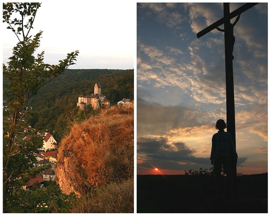 Links Burg Kipfenberg; Rechts: Gipfelkreuz mit K1