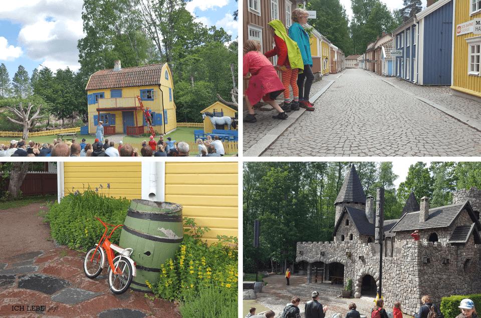 Astrid Lindgrens Värld: links oben: Villa Villekulla, rechts oben: Die kleine Stadt Links unten: das Fahrrad von Lotta aus der Krachmacherstraße, rechts untern: Die Mattisburg