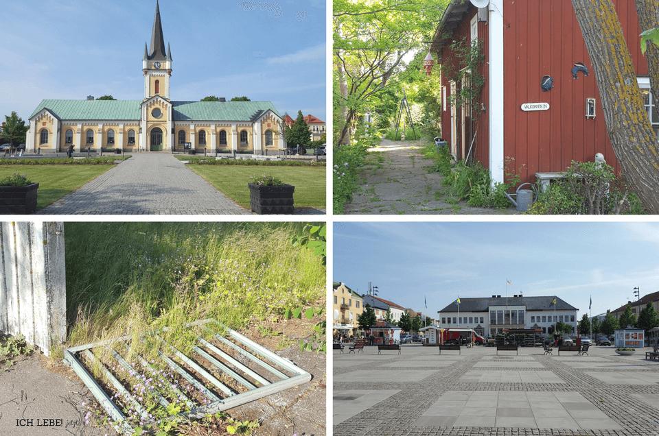 links oben: Borgholms kyrka, rechts oben: Kunsthandwerk links unten: ein pittoresquer Lostplace, rechts unten: Stortorget, der Marktplatz von Borgholm mit dem Rathaus