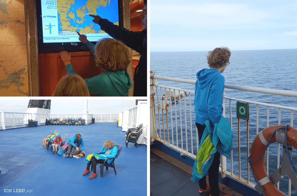 Links oben: Wir verfolgen unsere Route auf der digitalen Karte an Bord. Links unten: Das Sonnendeck gehört uns ganz alleine! Rechts: Den Wind in die Nase halten und aufs Meer schauen.