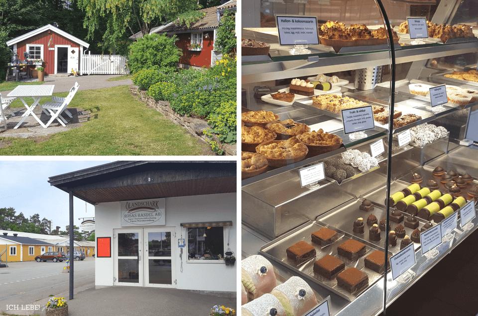 Links oben: Gartencafé von Schloß Solliden, links unten: Die Metzgerei Rosas handel mit deutschen Wurzeln, rechts: Kaffestugan in Löttorp