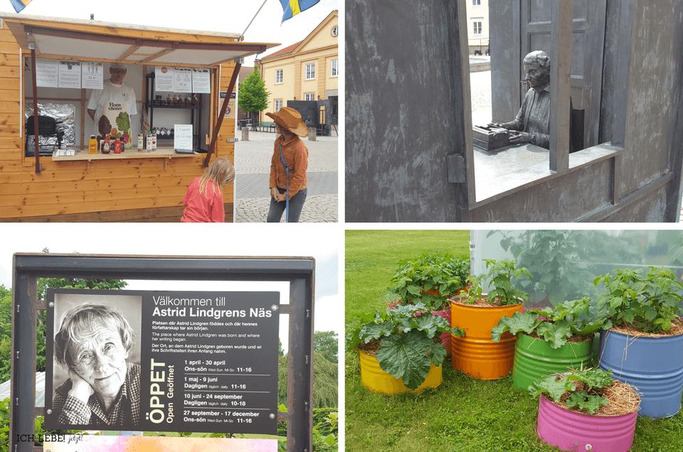 Links oben: Frank und seine Würstchenbude auf dem Marktplatz von Vimmerby, rechts oben: Astrid Lindgren-Skulptur nebenan Links unten: Eingang zum Astrid Lindgren Museum, rechts unten: im Garten des Museums: Inspiration für den eigenen Garetn gefunden.