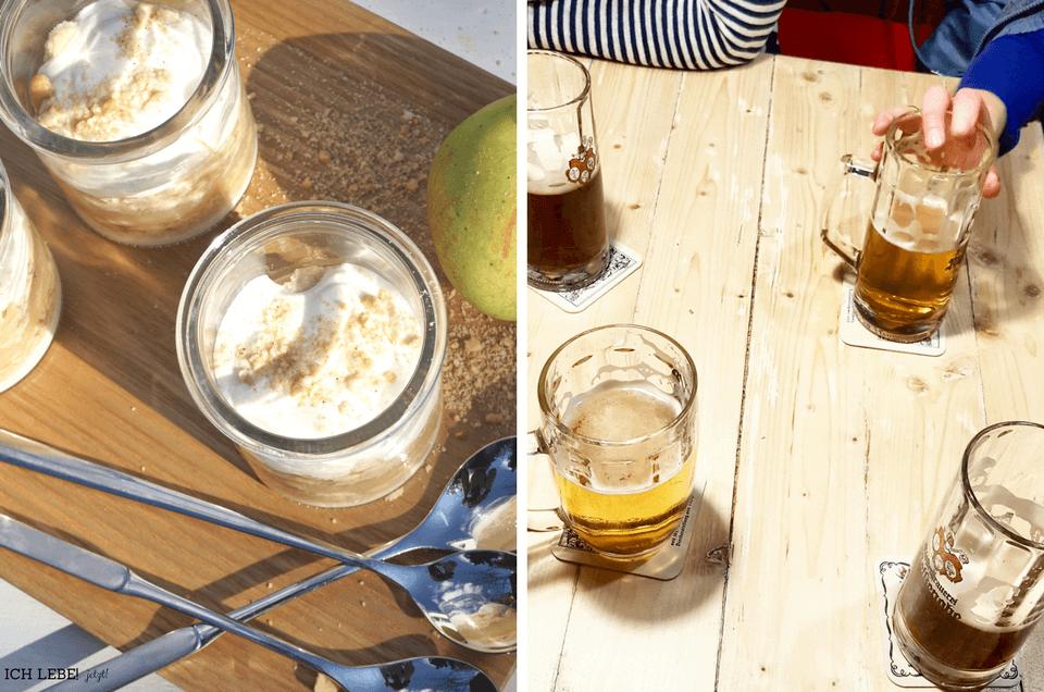 Links das Apfel-Schmand Dessert für den SEO-Workshop bei Evas Teeplantage,rechts: Bierkrüge auf Holztisch