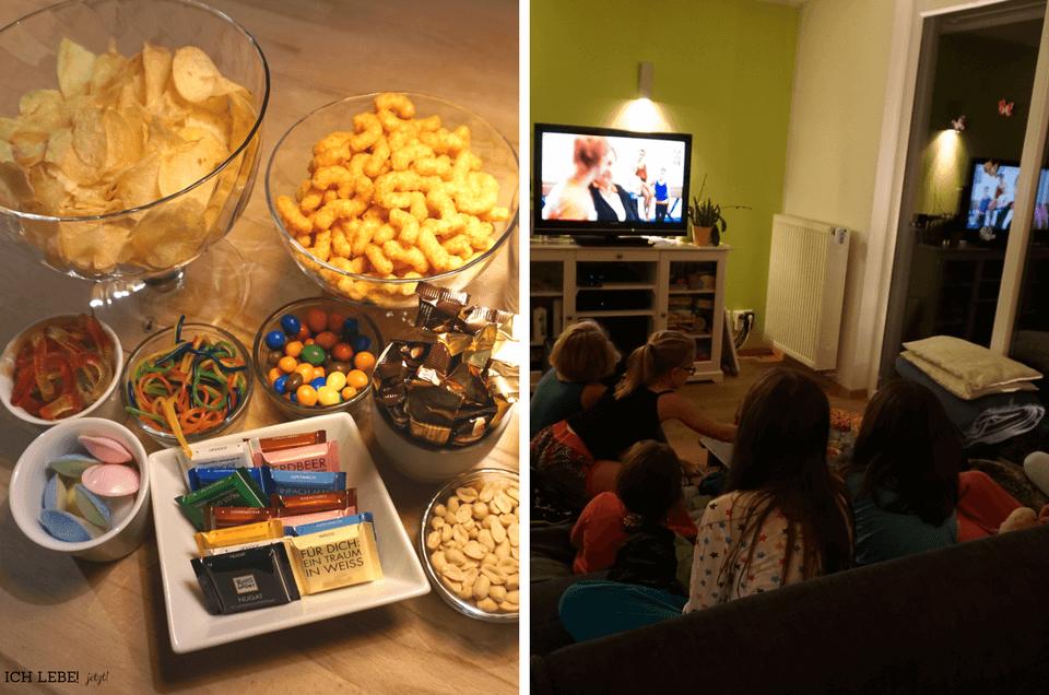 links: snacks, rechts: Kinder vor dem Fernseher