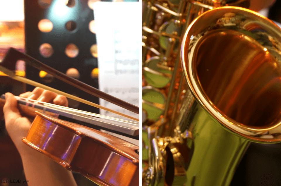 Links: Kind spielt auf Geige, rechts: Saxofon