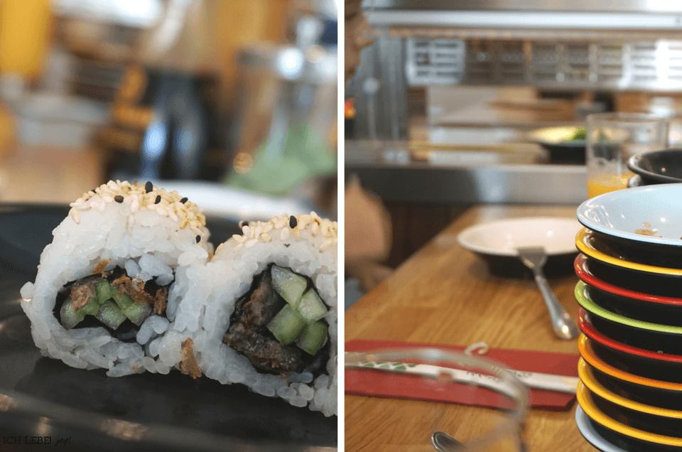 Links: Sushi Nahaufnahme, rechts: leere Teller beim running Sushi