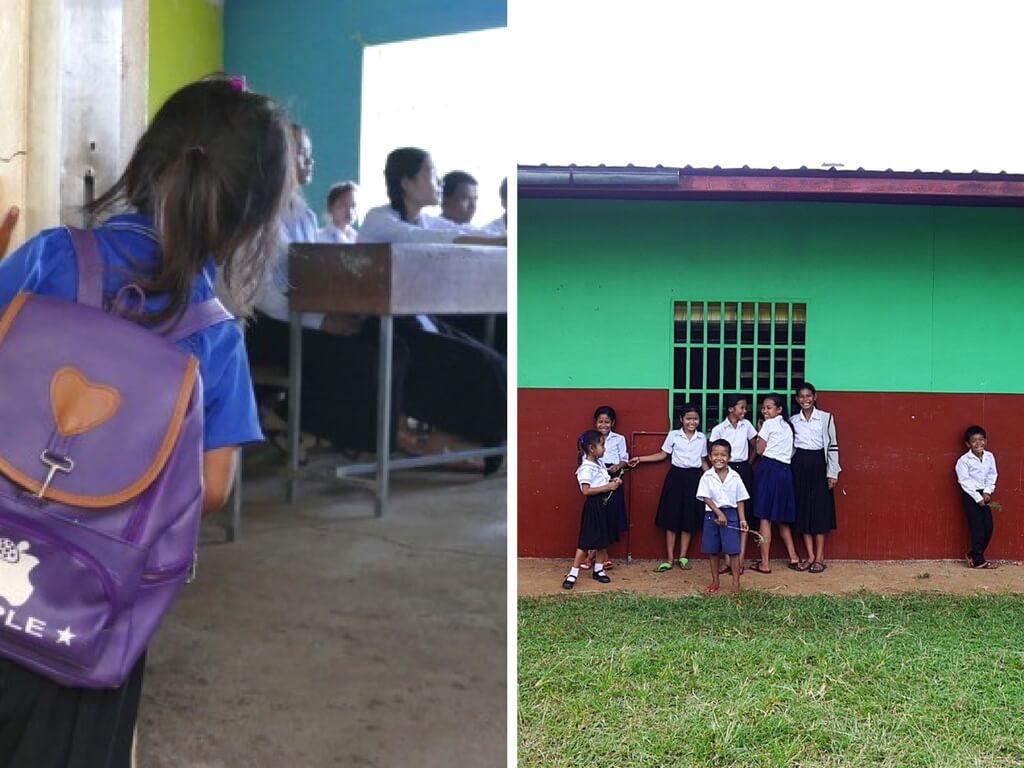 Links: Ein Kindergartenkind blick neugierig in einen Klassenraum. rechts: Schüler des Kinderdorfes.