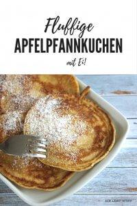 Perfekte fluffige Apfelpfannkuchen mit Ei. Ultraschnelle Zubereitung.