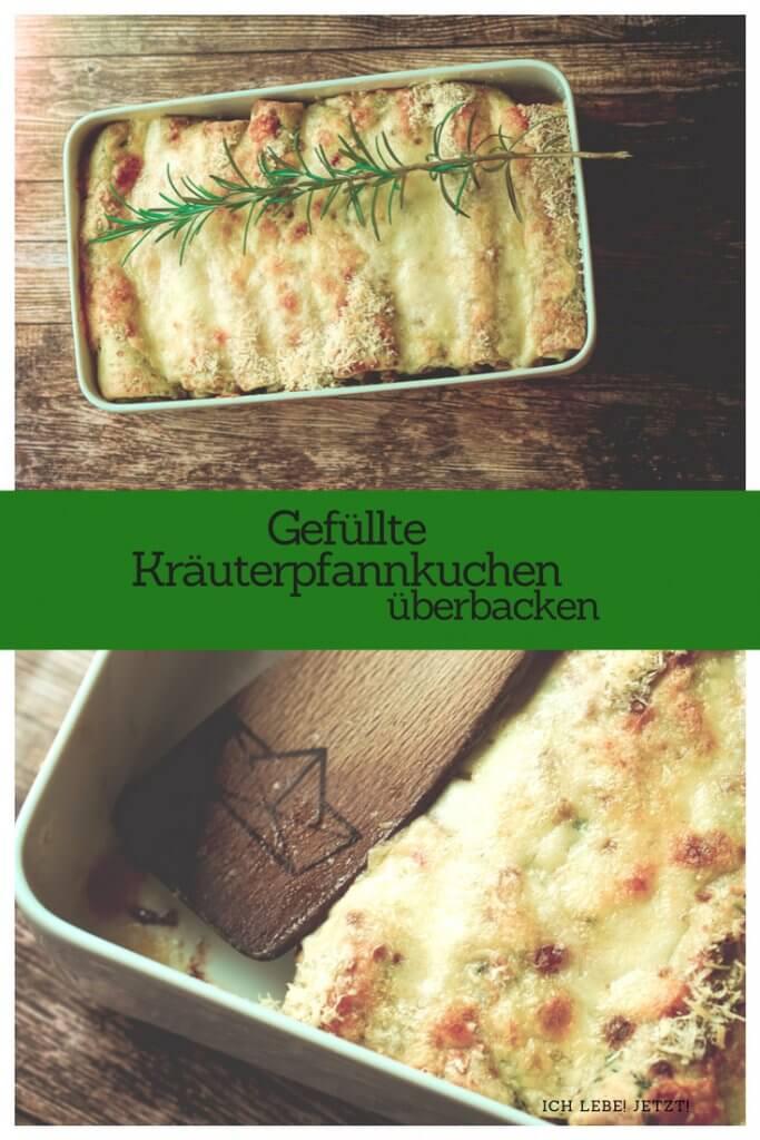 Gefüllte Pfannkuchen im Ofen überbacken