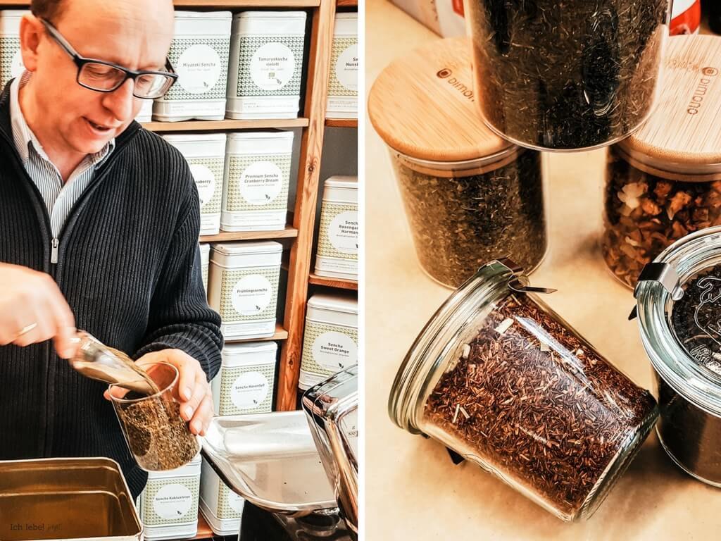 Abfüllen von losem Tee bei Evas Teeplantage in mitgebrachte Glasbehälter
