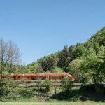 Zug der durch die fränkische Landschaft fährt