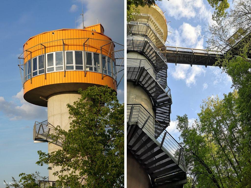 Aussichtsturm Baumkronenpfas Hainich in zwei Perspektiven