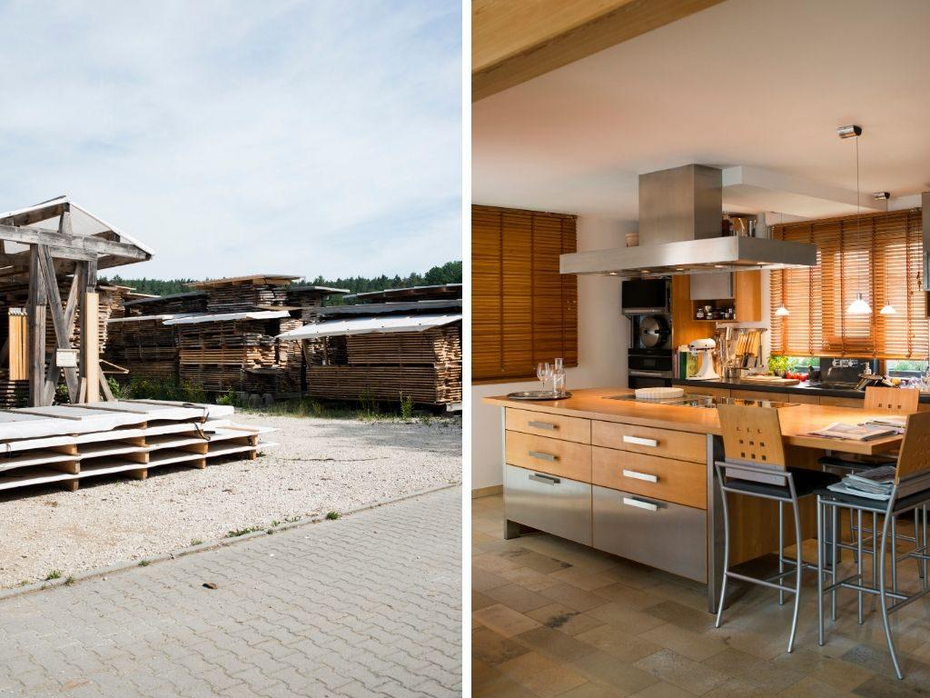 Holzlager und fertige Küche