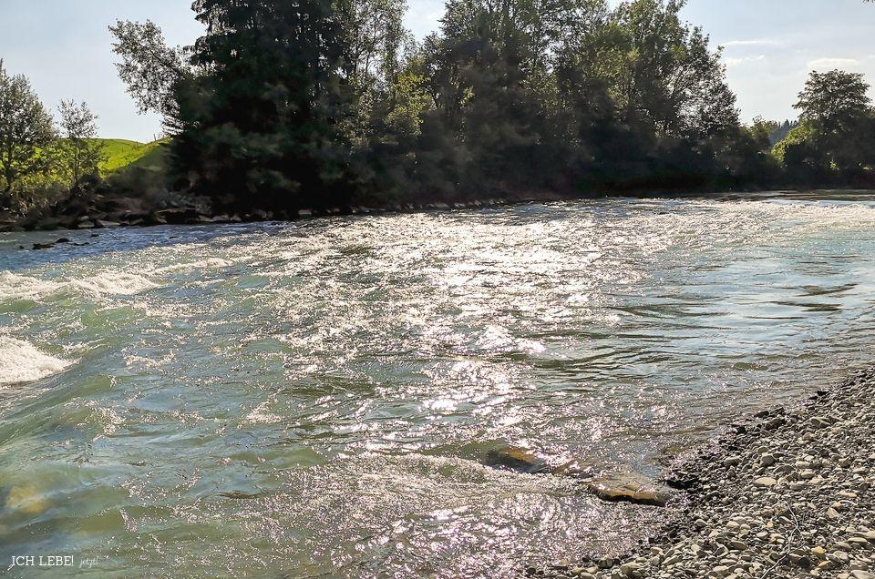 Der Fluß Iller im Sonnenschein