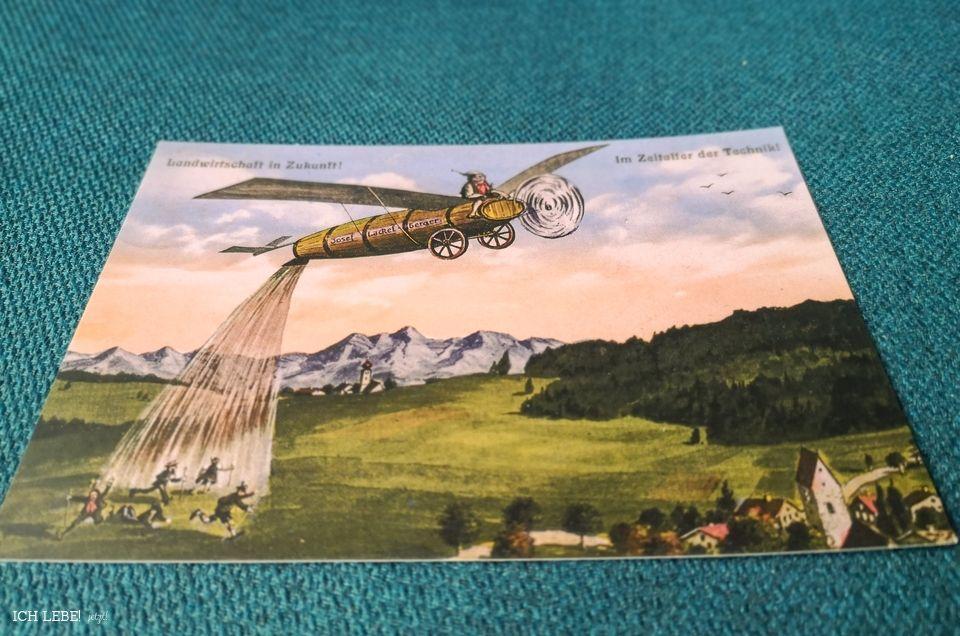 Postkarte Eugen Felle: Das fliegende Güllefaß