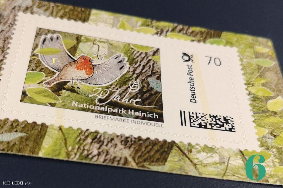 Geldbeutelfund: Briefmarke aus dem Nationalpark Hainich.