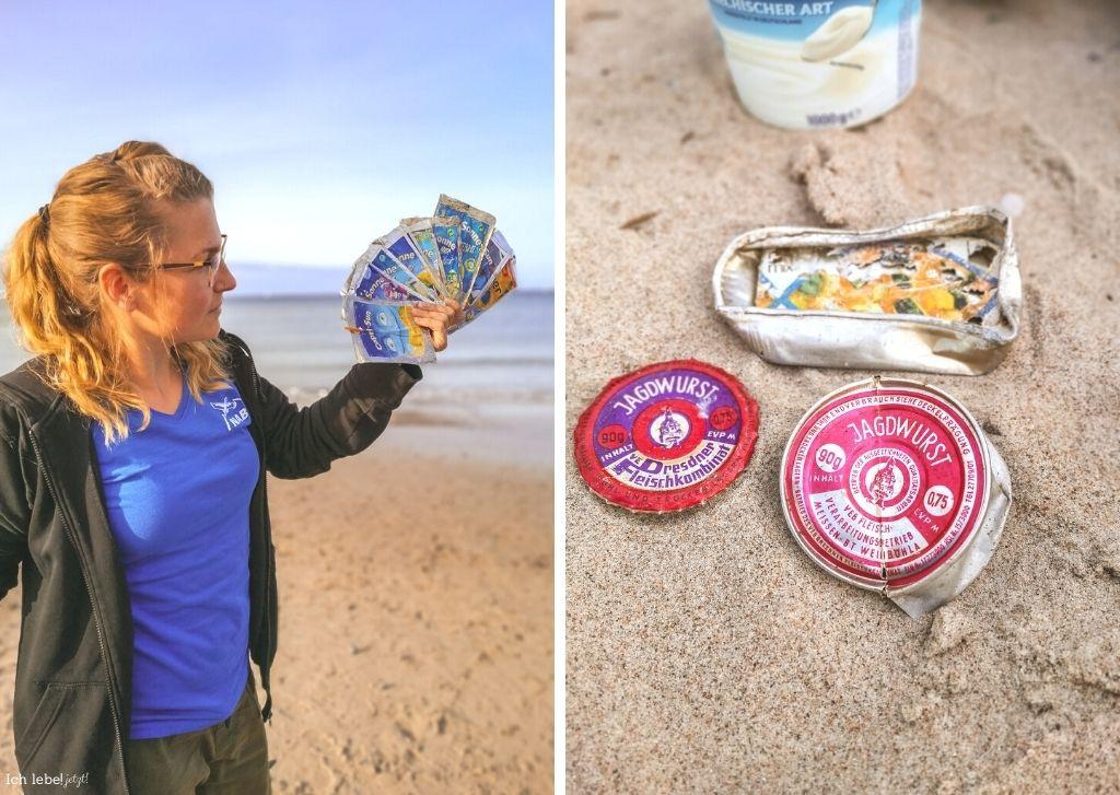 Rebecca Kain vom Naturschutzbund (NABU) Mittleres Mecklenburg zeigt verschiedene Verwesungsstadien von Plastikmüll.